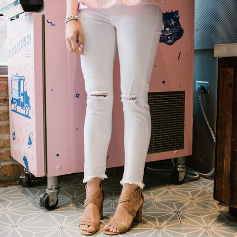 Chelsea Raw Hem White Skinnies