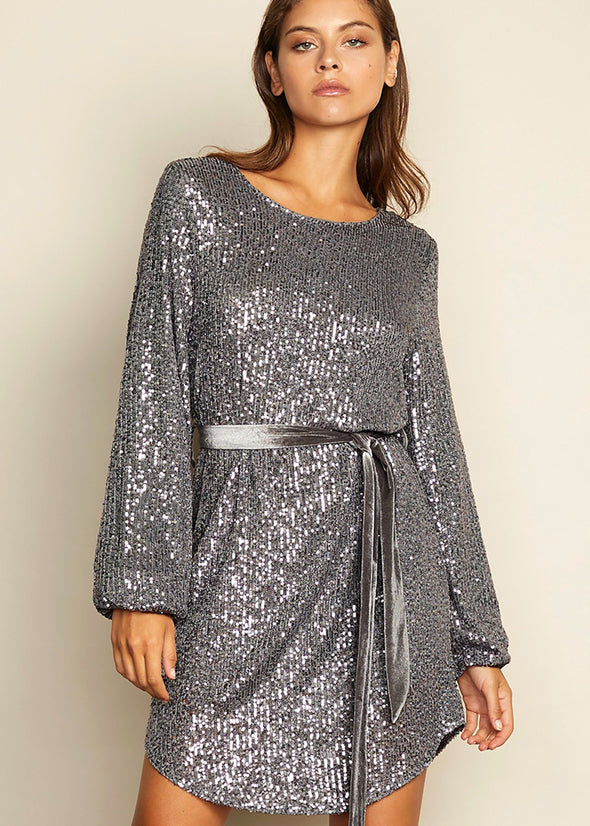 Cipriana Sequin Belted Dress - Silver