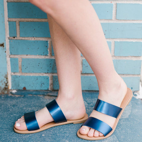 Cobalt Blue Slide Sandals