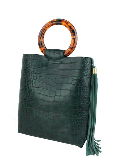 Croco Mini Tote with Tortoise Handle