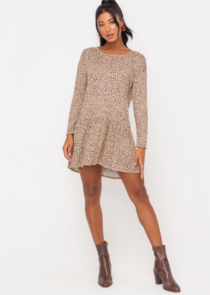 Leopard Drop Waist Swing Dress