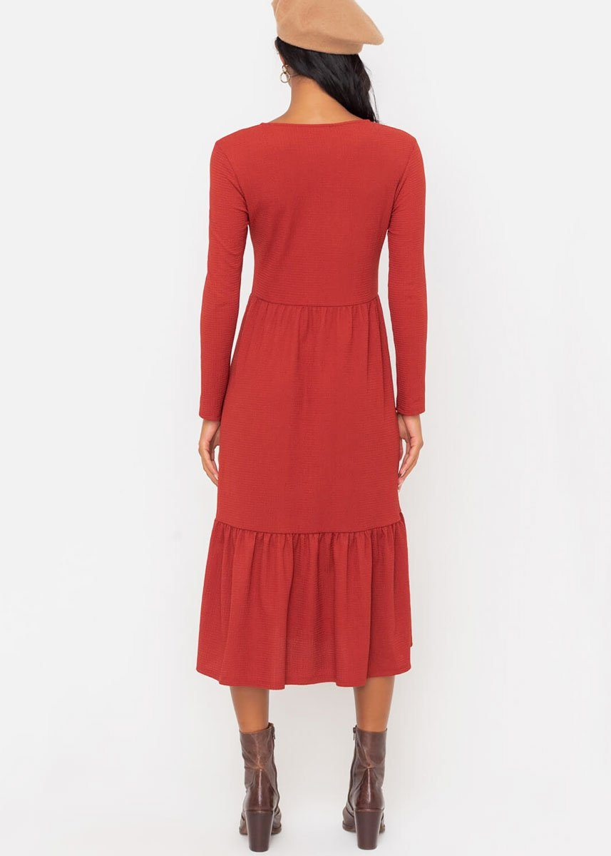Rust Tiered Midi Dress