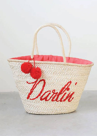 Darlin Pom Pom Straw Bag - Navy & Red