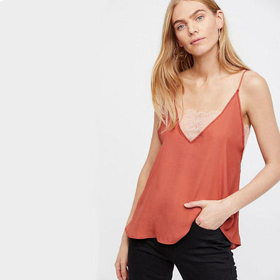Deep V Cami - Copper Rose
