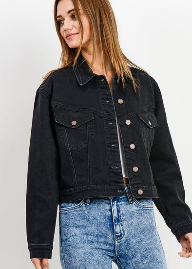 Doing Things Cropped Vintage Jean Jacket