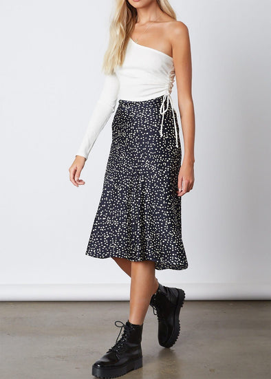 Dotty Navy Midi Skirt