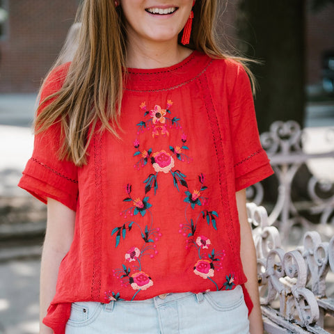 Pre-Order: Dylan Floral Embroidered Top