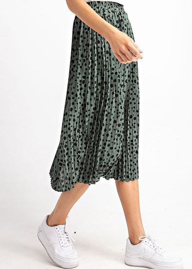 Easie Spotted Midi Skirt - Moss