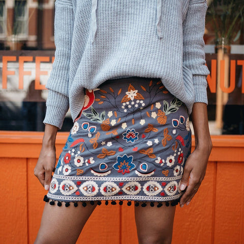 Emery Floral Embroidered Skirt