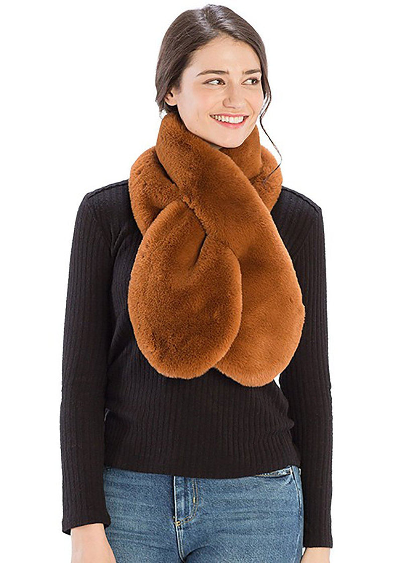 Faux-Fur Pull Through Scarf - Rust