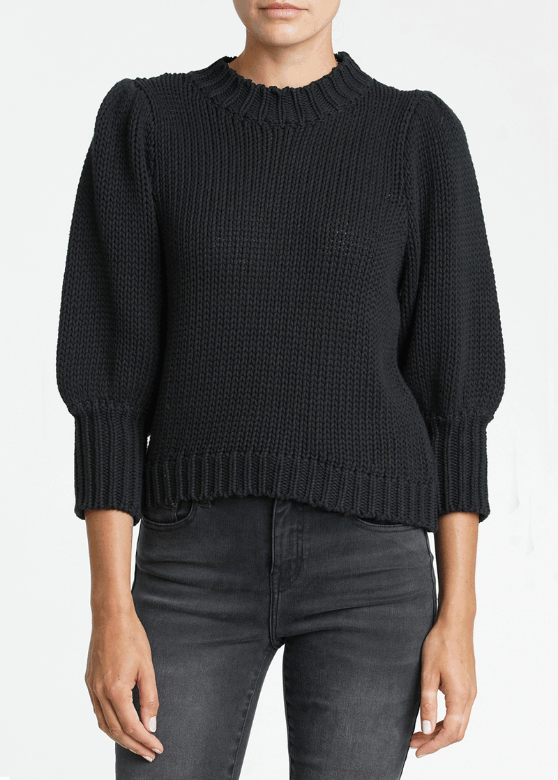 Gabbie Puff Sleeve Sweater - Black