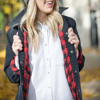 Gibson Plaid Contrast Denim Jacket