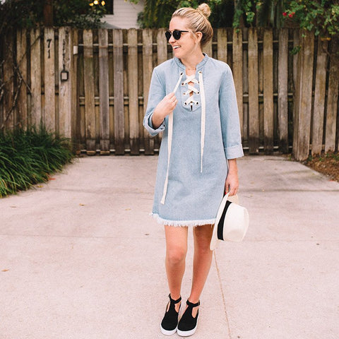 Gloria Denim Lace-Up Dress