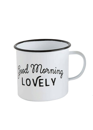 Good Morning Lovely Enameled Mug