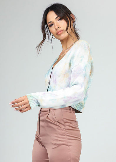 Tie Dye Front-Button Cardigan