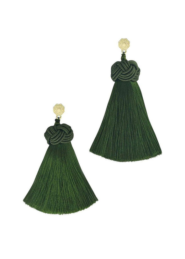 Green Tea Topknot Tassel Earrings
