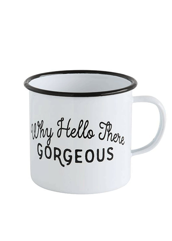 Hello There Gorgeous Enameled Mug