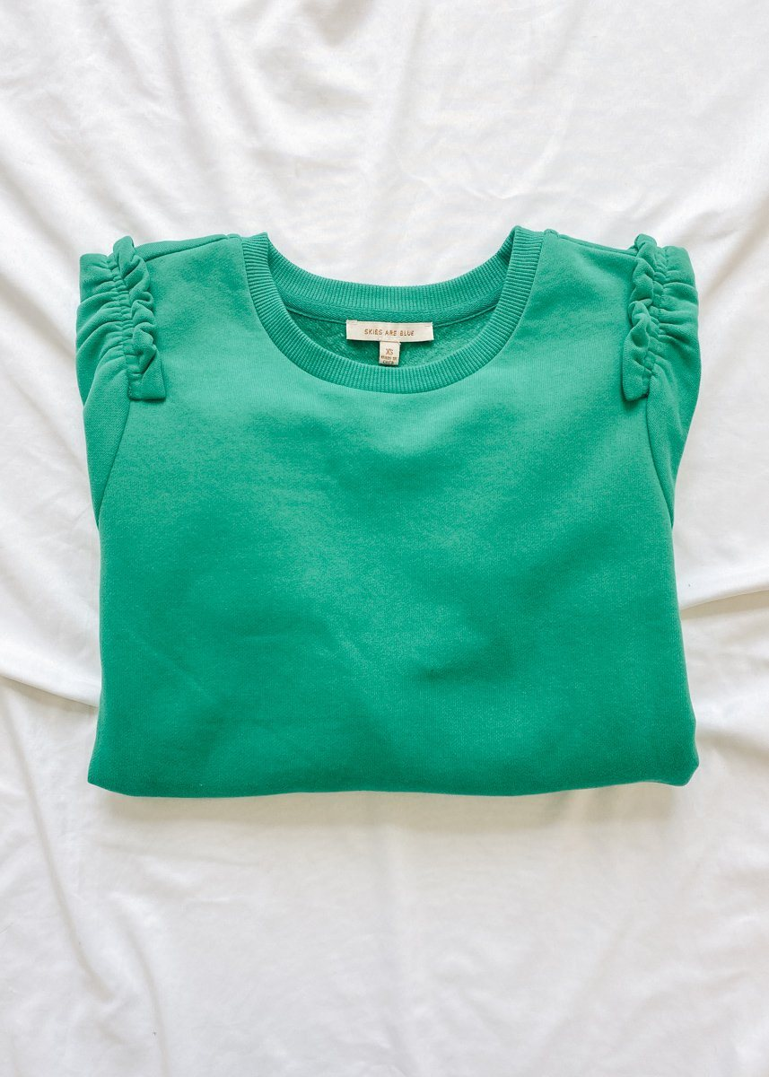 Ruffled Sleeve Sweatshirt - Kelly Green