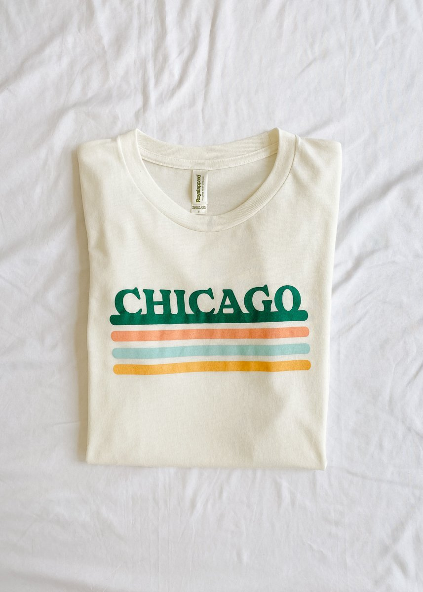 Chicago Retro Stripe Tee - Green Combo