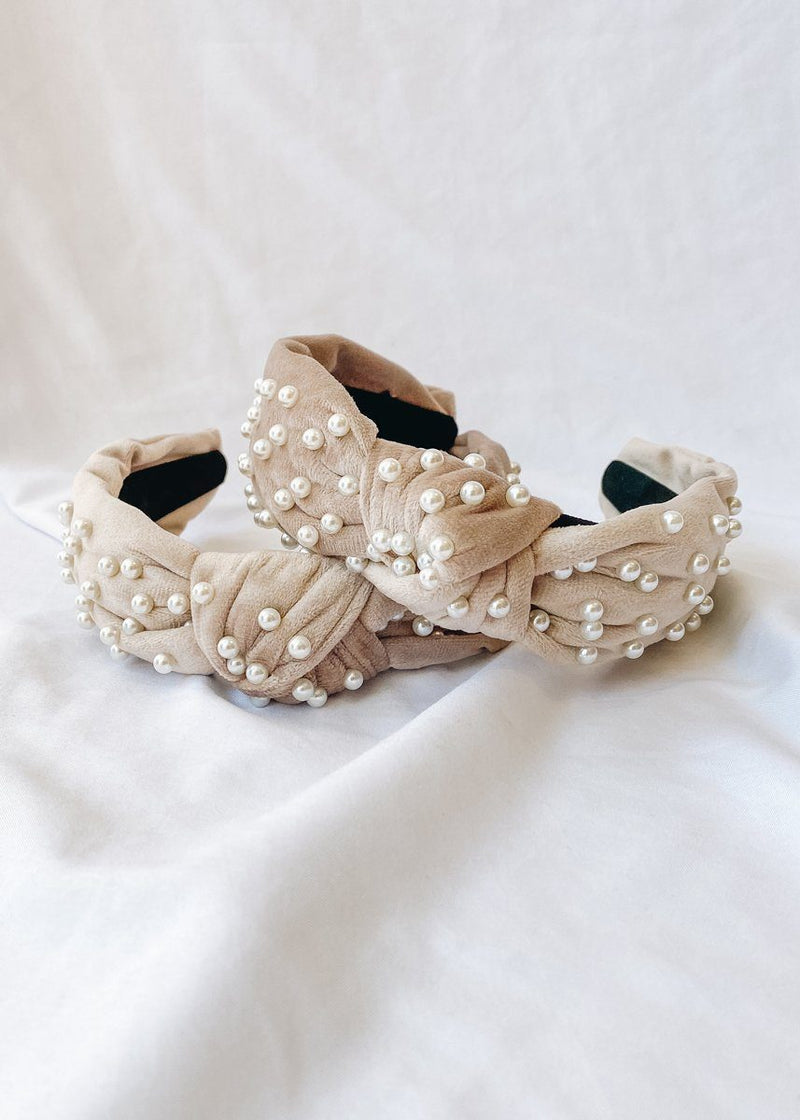 White Pearl Velvet Top Knot Headband - Cream