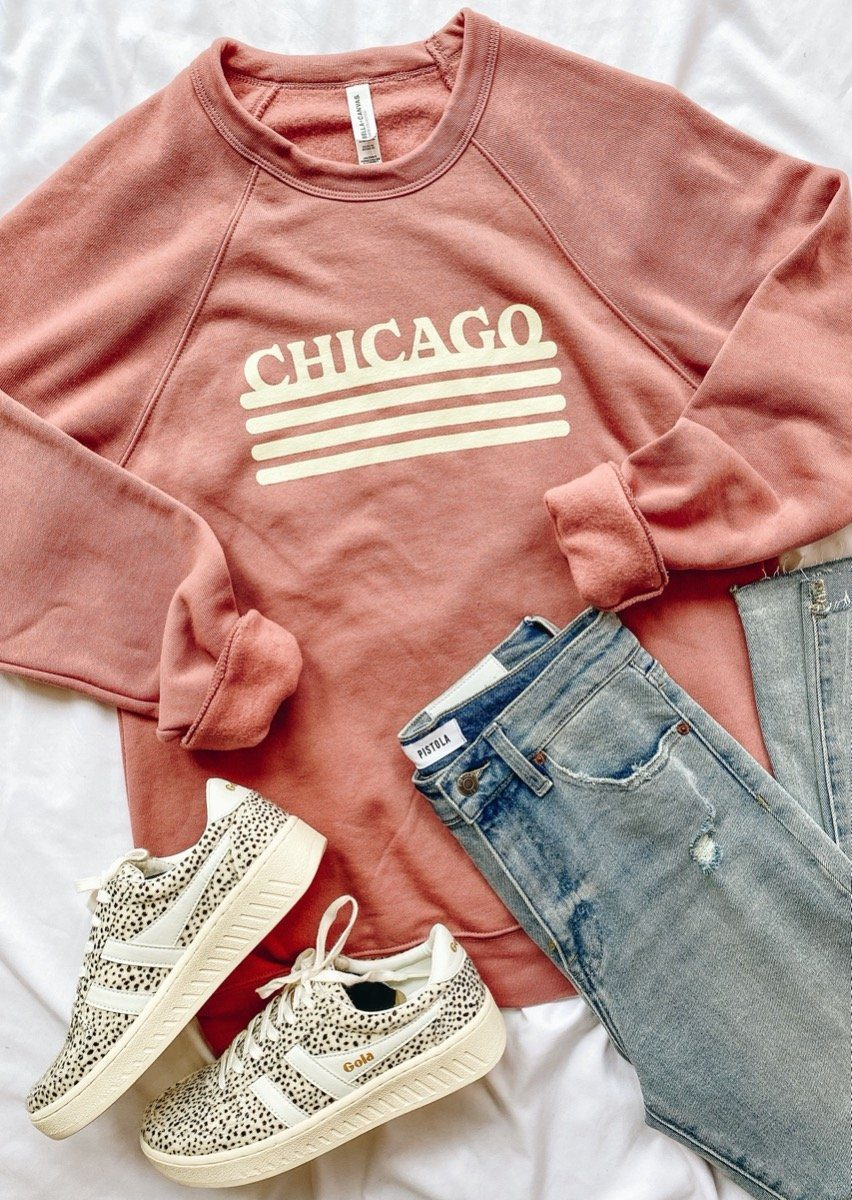 Chicago Retro Stripe Sweatshirt - Mauve