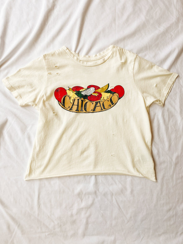 Chicago Dog Distressed Crop Tee - Off White