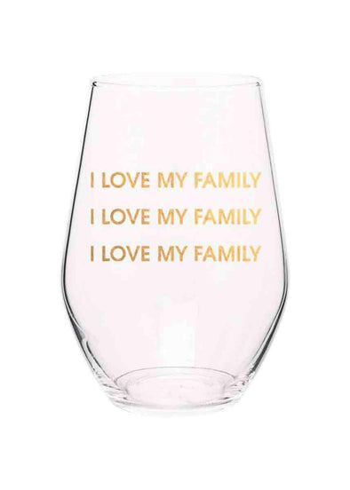 I Love My Family Stemless Wine Glass