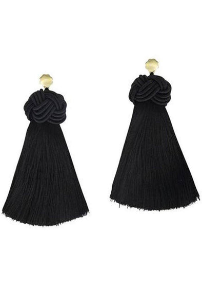Topknot Tassel Earrings - Black
