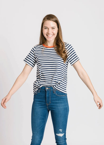 The Jude Striped Top - Navy