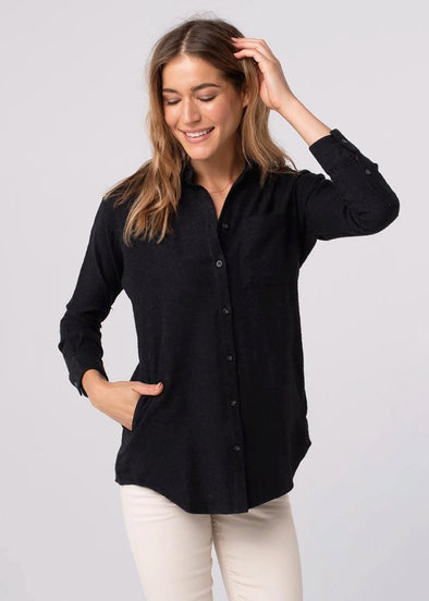 Karly Pocket Button Up - Charcoal