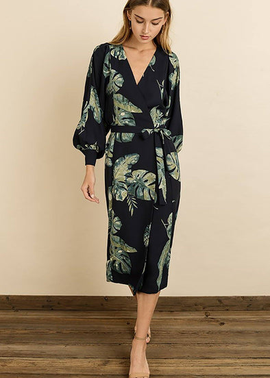 Kelly Monstera Leaf Wrap Dress