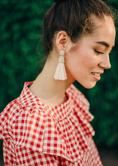 Kelly Raffia Tassel Earrings