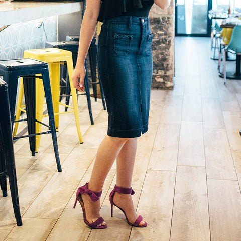 Kenzi Denim Midi Pencil Skirt