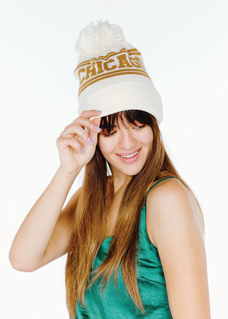 Adult Mad Hatter Chicago Beanie - Ivory