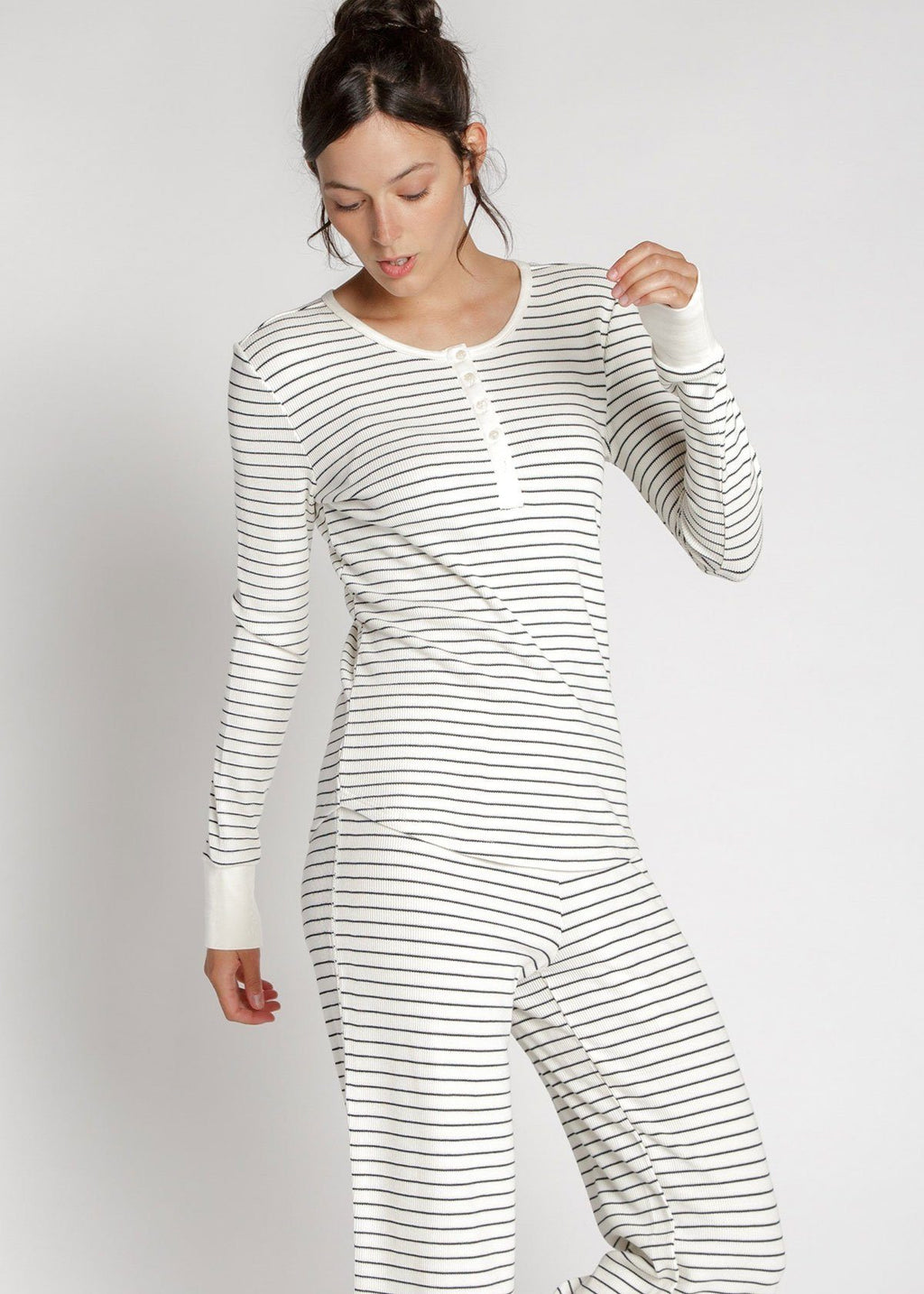 Pre-Order: Maeve Thermal Top - Ivory Stripe