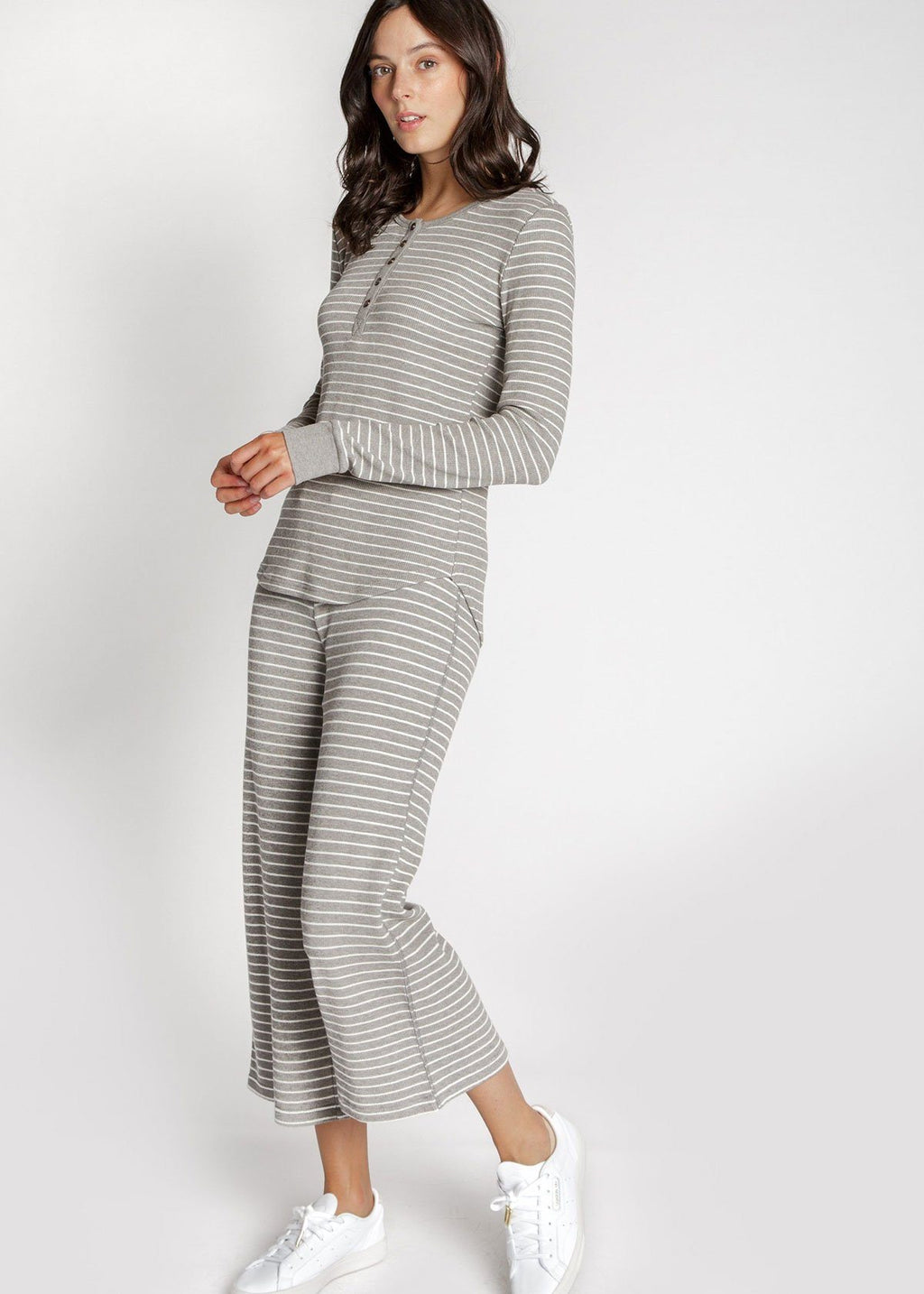 Maeve Thermal Top - Heather Grey Stripe