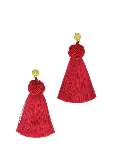 Maraschino Topknot Tassel Earrings