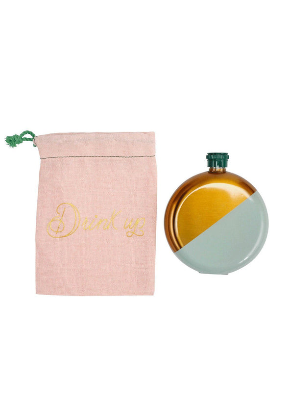 Mint Flask with Drawstring Bag
