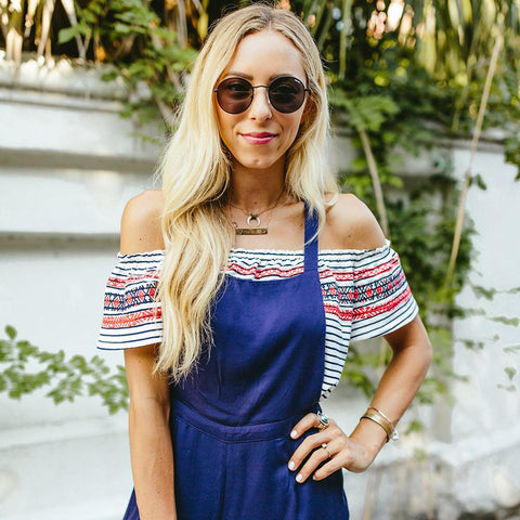 Molly Embroidered Stripe Off-The-Shoulder