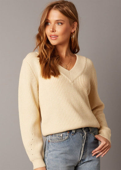 Morea V-Neck Sweater - Ivory