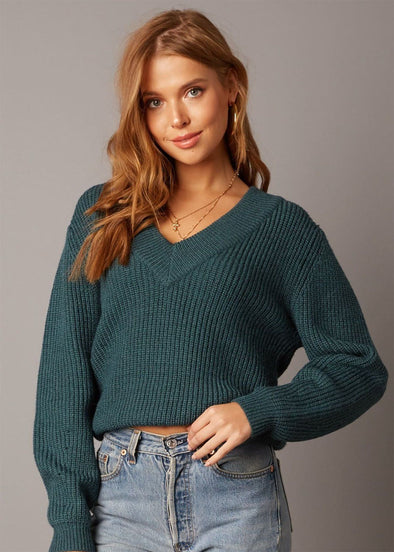 Morea V-Neck Sweater - Teal