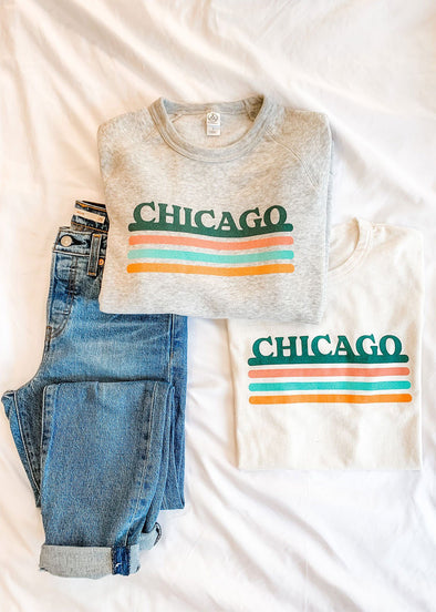 My Kind of Town Chicago Sweatshirt - Mint Stripe