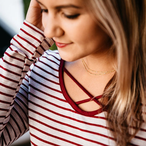 Myla Maroon Stripe Top