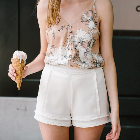 Naomi Blush Floral Button Tank