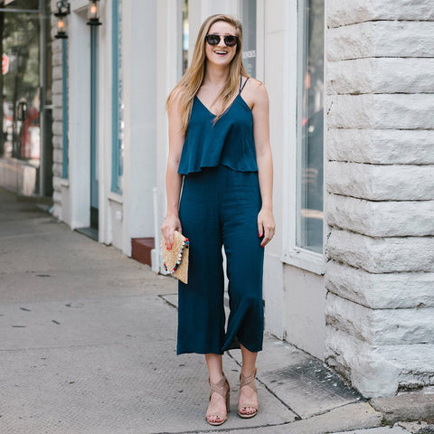 Navy Pop Over Jumpsuit