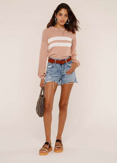 Peyton Varsity Sweater - Blush
