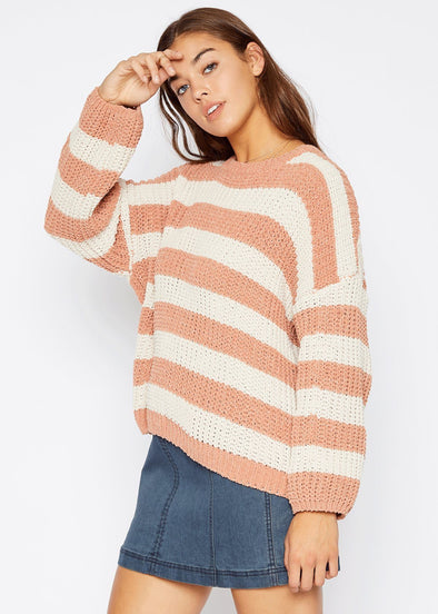 Peachy Keen Stripe Sweater