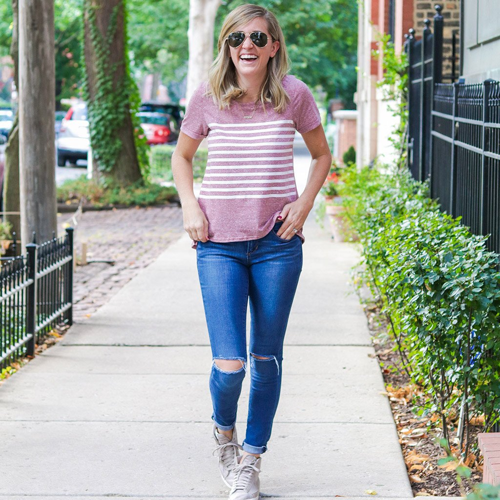 Perfect Stripe Tee - Dusty Red