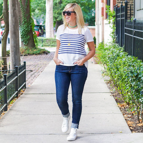 Perfect Stripe Tee - White
