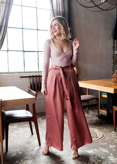Smell The Roses Wide Leg Pant - Blush